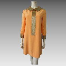 Orange Beaded Cocktail Dress Vintage 1970s Gold Beads Tangerine Evening