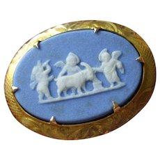 Antique Art Nouveau 10k Gold Wedgwood Cameo Brooch Pendant Cherubs
