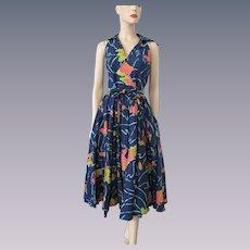Pinup Hawaiian Full Circle Skirt Sun Dress Vintage 1950s Blue Cotton Floral Rockabilly
