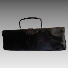 Black Patent Leather Purse Vintage 1950s Garay Long Length Handbag