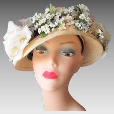 Floral Church Hat Bonnet Vintage 1960s Beige Straw Wedding Garden Party