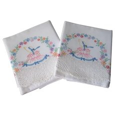 Pair Southern Belle Pillowcases Vintage 1930s Embroidered Floral Flowers Lace