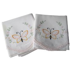 Pair Butterfly Embroidered Pillowcases Vintage 1930s Floral Lace