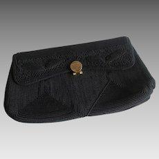Black Genuine Corde Clutch Purse Vintage 1940s