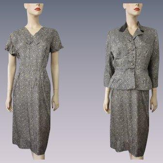 Gray Dress Jacket Wiggle Suit Vintage 1940s Womens Rayon Velvet