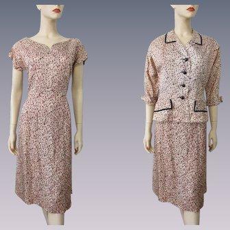Womens Suit Vintage 1940s Rayon Wiggle Dress Jacket Peach Black Velvet