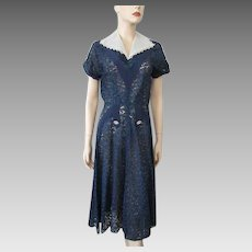 Vintage 1930s Lace Dress Navy Blue Rosemont Lace Fit and Flare