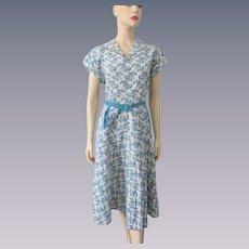 Vintage 1930s Womens Paisley Dress Cotton Rhinestones Belt Large