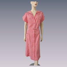 Vintage 1930s Dress Red Gingham Cotton Belt Large