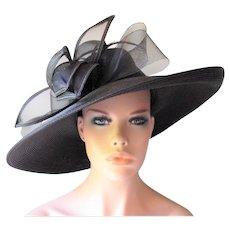 Black Wide Brim Hat Vintage 1980s Floral Bow August Accessories