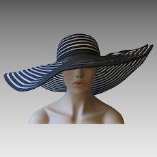 Wide Brim Sun Hat Vintage 1970s Black Striped Ribbon Straw