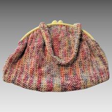 Creamed Corn Bakelite Purse Vintage 1950s Colorful Boucle Knit Handbag