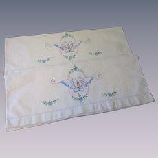 Pair Art Deco Butterfly Pillowcases Vintage 1940s Muslin Embroidered