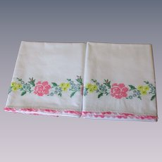 Bright Floral Embroidery Pillowcases Vintage 1930s Spring Summer Flowers