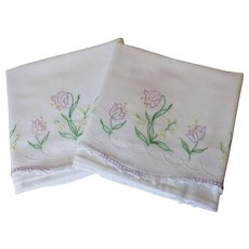 Vintage 1930s Pillowcases White Cotton Lavender Floral Embroidery