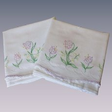 Vintage 1930s Pillowcases White Cotton Lavender Floral Embroidery