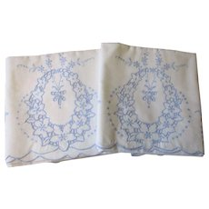 Blue White Pillowcases Vintage 1930s Embroidered Cutwork Floral Wreath