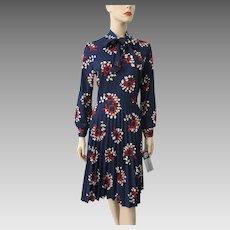 Floral Print Dress Vintage 1960s Bow Neck Knife Pleat Skirt Deadstock