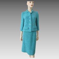 Turquoise Blue Suit Jacket Skirt Vintage 1960s Hand Crocheted Designer Samuel Winston
