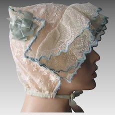 Net Lace Breakfast Sleep Cap Vintage 1920s Boudoir Bridal Dainty Floral Blue Ribbons