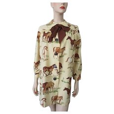 Painters Smock Vintage 1940s Cotton Horse Print Bow Neck Wayne Maid