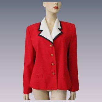 Red White Blue Jacket Blazer Vintage 1980s Kasper Womens Large