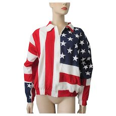 Patriotic American Flag Bomber Jacket Vintage 1990s Red White Blue