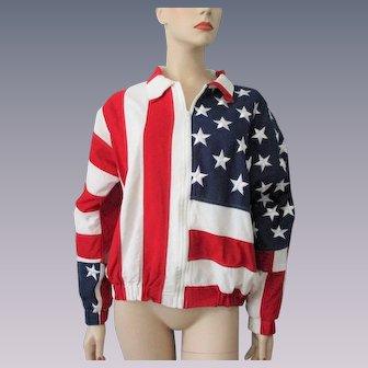 Patriotic American Flag Bomber Jacket Vintage 1990s Red White Blue