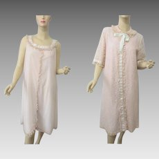 Lace Peignoir Set Vintage 1960s Odette Barsa Negligee Nightgown Robe
