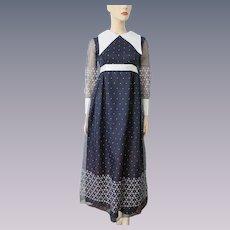Vintage 1970s Maxi Dress Sheer Polka Dot Daisy Flower Huge White Pointed Collar