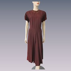 Vintage 1940s Dress Coppery Brown Rayon Beaded Womens Large