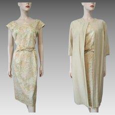 Wiggle Dress Tan Shantung Jacket Vintage 1960s Womens 2 Pc Suit Set Large