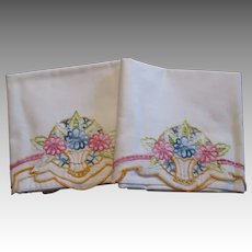 Flower Basket Pillowcases Vintage 1930s Cutwork Colorful Embroidery Cotton Pair