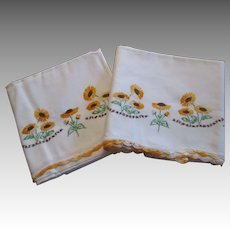 Pair Sunflower Pillowcases Vintage 1930s White Cotton Embroidery Lace