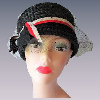Womens Straw Pillbox Hat Vintage 1960s Red White Black Veil