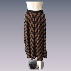 Maxi Skirt Vintage 1970s Wool Brown Black Chevron Stripes