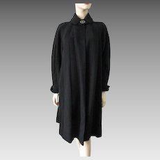 Black Alpaca Fur Swing Coat Vintage 1950s Womens Larger Size