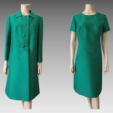 Mod Green Silk Shift Dress Jacket Suit Vintage 1960s Designer Albert Schwartz