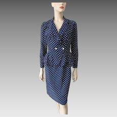 Polka Dot Blouse Skirt Suit Vintage 1980s Navy White Set