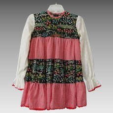 Girls Bohemian Cotton Dress Vintage 1970s Floral Gingham Ruffles