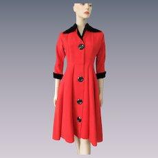 Black Red Coat Dress Vintage 1940s Ribbed Velvet Rayon Large Buttons