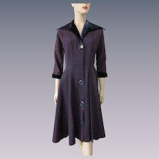 Vintage 1940s Coat Dress Indigo Violet Ribbed Rayon Velvet Collar Cuffs