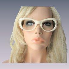 Mod Eyeglasses Frames Vintage 1960s Beige Rhinestone Glasses
