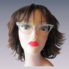 Cat Eye Glasses Frames Vintage 1950s Pearly White Lucite Rhinestones Stars Etched
