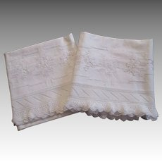 Pair White Pillowcases Vintage 1930s Deep Knitted Lace Trim