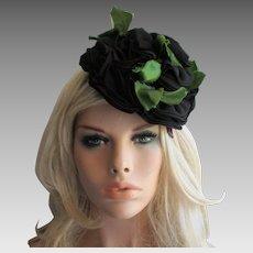 Fascinator Hat Vintage 1960s Black Rose Nylon Flowers Millinery Leaves