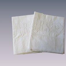 Mr Mrs Pillowcases Vintage 1930s Embroidered White Wedding Set