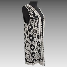 Long Beaded Vest Vintage 1960s Black Rayon White Seed Beads