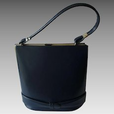 Mod Navy Blue Purse Vintage 1960s Leather Belt Trim Handbag