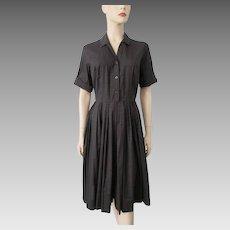 Shirt Dress Vintage 1950s Brown Black Plaid Cotton Deadstock